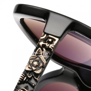 Chic Flower Shape Carve Embellished Sunglasses For Women -