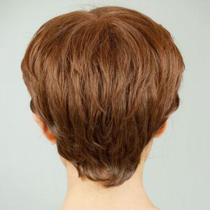 Towheaded Short Side Bang Curly Human Hair Wig For Women -