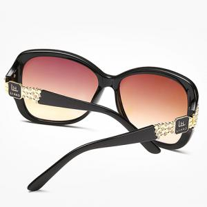 Chic Rhinestone and Letters Metal Embellished Sunglasses For Women -