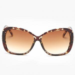Chic Rhinestone and Letters Metal Embellished Flecky Sunglasses For Women -