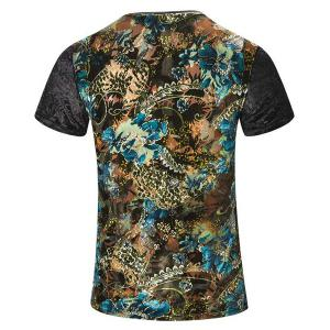 Plus Size V-Neck PU Leather Spliced Floral Print Short Sleeve T-Shirt For Men -