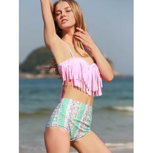 Printed Underwire High Waisted Bikini with Fringe Top - PINK M