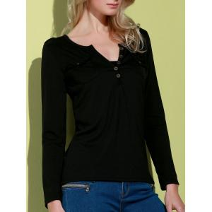 Sexy V-Neck Long Sleeve Pocket Design Slimming Women's T-Shirt - Black - S