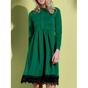 Noble Round Collar Lace Hem Long Sleeve Ruffled Dress For Women