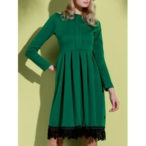 Noble Round Collar Lace Hem Long Sleeve Ruffled Dress For Women - GREEN S