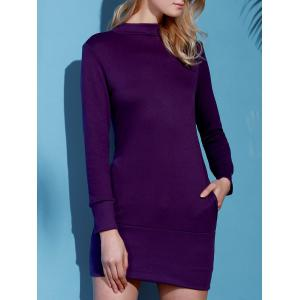 Long Sleeve High Neck Mini Tight Dress - PURPLE M