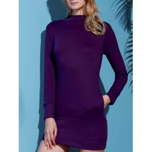 Brief Turtleneck Pure Color Long Sleeve Dress For Women - PURPLE M