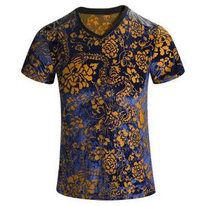 Plus Size V-Neck PU Leather Spliced Floral Print Short Sleeves T-Shirt For Men - Colormix - L