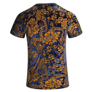 Plus Size V-Neck PU Leather Spliced Floral Print Short Sleeves T-Shirt For Men -