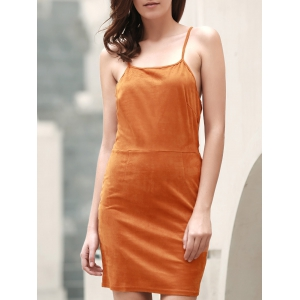 Spaghetti Strap Lace-Up Cami Club Dress