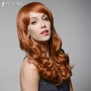 Trendy Inclined Bang Long Fluffy Wavy Capless  Human Hair Wig - AUBURN BROWN #30
