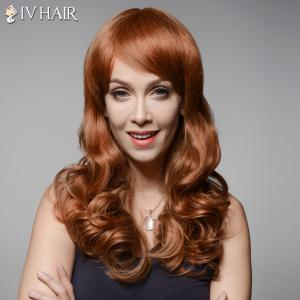 Trendy Inclined Bang Long Fluffy Wavy Capless  Human Hair Wig