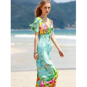 Bohemian Plunging Neck Short Sleeve Women's Floral Dress -
