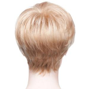 Towheaded Short Oblique Bang Human Hair Wig For Women -