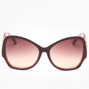 Chic Rhinestone Hollow Chain Shape Decorated Two Color Sunglasses For Women -