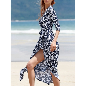 Maxi Floral Wrap Swing Dress with Slit