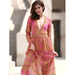 Bohemian Plunging Neck Long Sleeve Lace Embellished Printed Dress For Women -