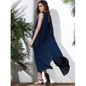 Trendy Jewel Neck Sleeveless Solid Color Irregular Slit Jumpsuit For Women -