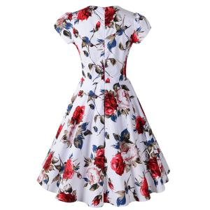 Knee Length Floral Flare Pin Up Dress - RED S