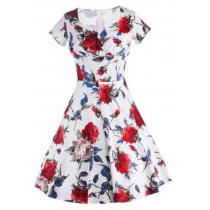 Knee Length Floral Flare Pin Up Dress