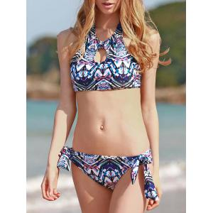 Ethnic Style High Neck Printed Backless Bathing Suit For Women
