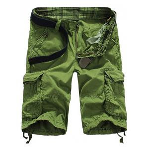 Loose Fit Straight Leg Multi-Pocket Lacing Cuffs Zipper Fly Shorts For Men
