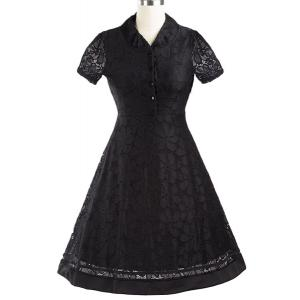 Retro V-Neck Short Sleeve Buttoned Women's Pin Up Dress