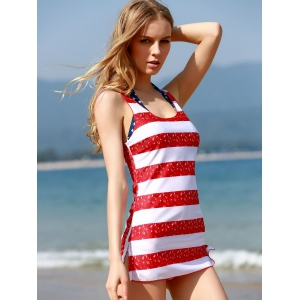 Refreshing Halter Striped Star Print Three-Piece Bathing Suit For Women -