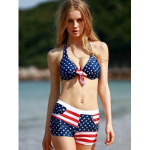 Refreshing Halter Striped Star Print Underwire Bathing Suit For Women -