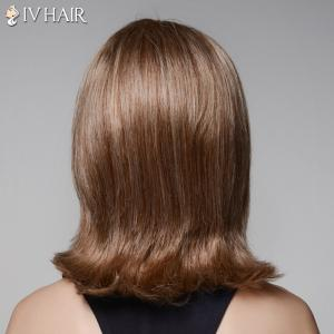 Ladylike Straight Slightly Curled Capelss Fashion Medium Side Bang Human Hair Wig For Women - BROWN/BLONDE