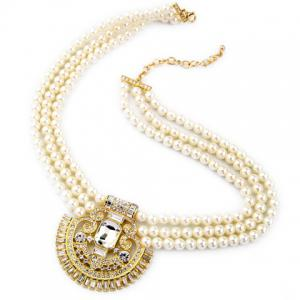Vintage Rhinestone Faux Pearl Hollow Out Necklace -