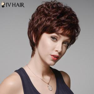 Skilful Human Hair Curly Full Bang Short Wig For Women -