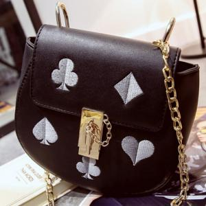 Sweet Chain and Embroidery Design Crossbody Bag For Women - BLACK