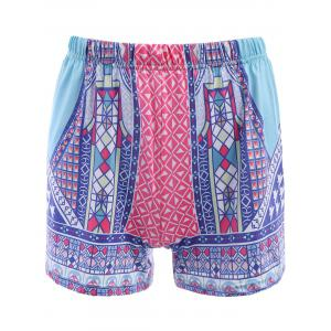 Ethnic Style Elastic Waist Colorful Printed Women's Shorts - Colorful - Xl