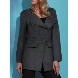 Stylish Turn-Down Collar Long Sleeve Slimming Coat For Women -