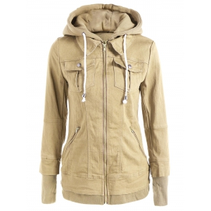 Trendy Hooded Long Sleeve Faux Twinset Pocket Design Women's Jacket - Beige - Xl