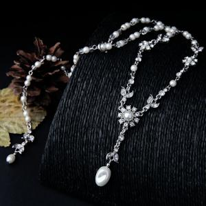 Faux Pearl Rhinestone Flower Pendant Necklace -