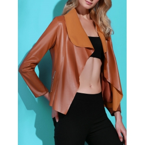Stylish Turn-Down Collar PU Leather Long Sleeve Jacket For Women - BROWN M