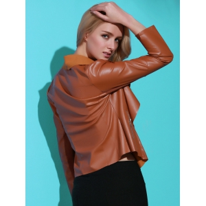 Stylish Turn-Down Collar PU Leather Long Sleeve Jacket For Women -