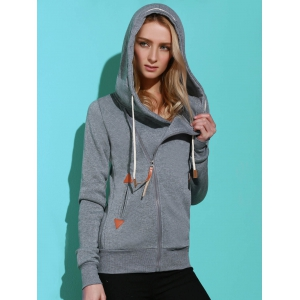 Casual Style Solid Color Long Sleeves Hoodie For Women - SMOKY GRAY M