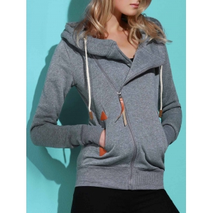 Casual Style Solid Color Long Sleeves Hoodie For Women - SMOKY GRAY L