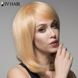 Ladylike Human Hair Straight Side Bang Wig For Women -