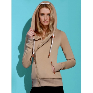Casual Style Solid Color Long Sleeves Hoodie For Women - KHAKI L