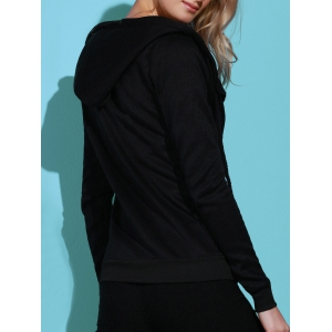 Casual Style Solid Color Long Sleeves Hoodie For Women - BLACK XL