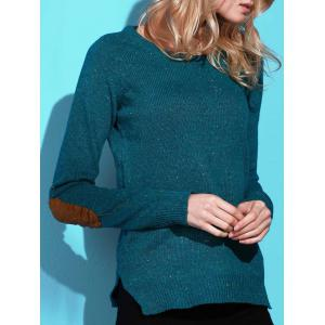 Stylish Back Buttoned Elbow Spliced Pullover Sweater For Women - Green - S
