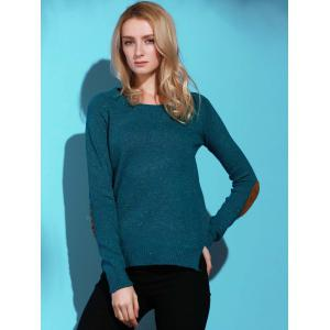 Stylish Back Buttoned Elbow Spliced Pullover Sweater For Women - GREEN S