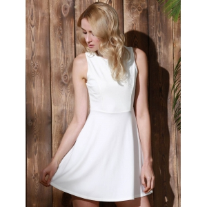 Stylish Round Collar Sleeveless A-Line Dress For Women -