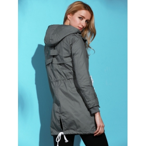 Chic Long Sleeve Solid Color Pocket Coat For Women - DEEP GRAY L