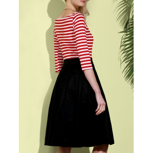 Graceful Round Neck 3/4 Sleeve Striped A-Line Women's Dress -