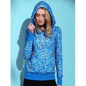Cute Hooded Long Sleeve Birds Print Drawstring Women's Hoodie -